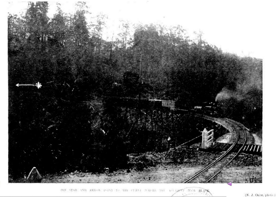 White star and arrow on the Photo showing the location of the derailment from The Australasian Saturday 3 February 1906 Page 30