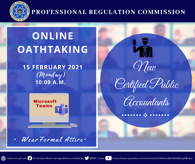 New Certified Public Accountants Online Oathtaking Schedule d Other Details