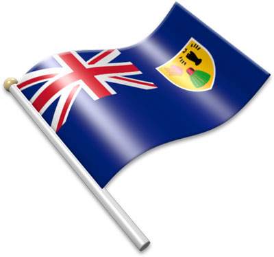 The Turks and Caicos Island flag on a flagpole clipart image