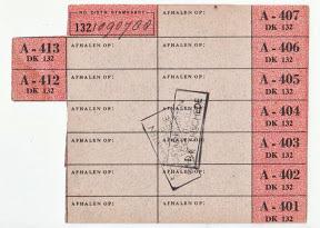 Inlegvel behorend bij distributiestamkaart. Afgestempeld Stamkaart controle Enschede.