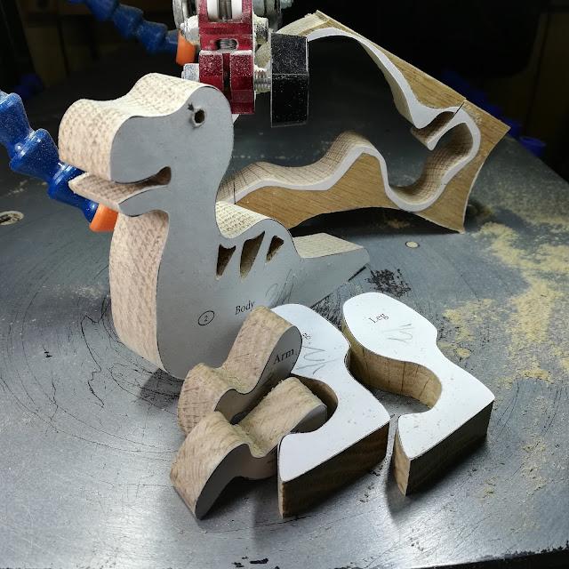 Handmade Wood Toy Dinosaur Allosaurus Parts Cut Using A Scroll Saw