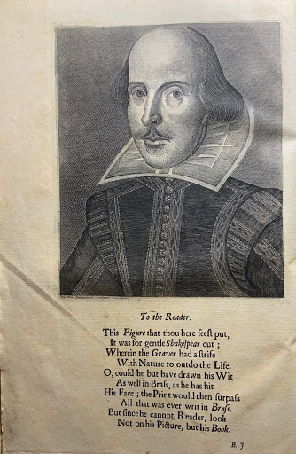 "Frontispiece of the Fourth Folio with an engraving of Shakespeare and the ""To the Reader"" poem by Ben Jonson"