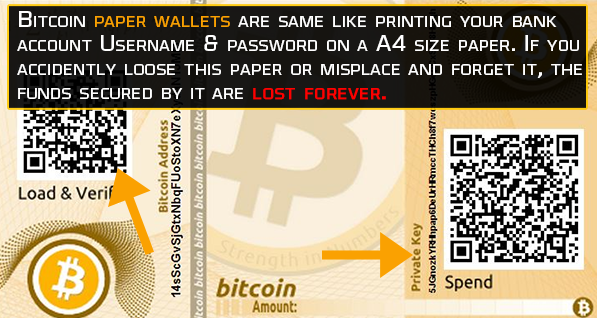 Bitcoin paper wallets are same like printing your bank account and password on paper
