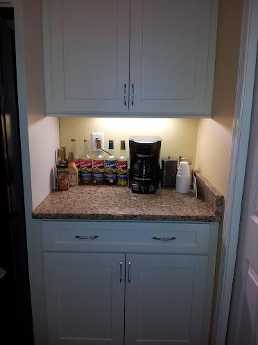 Final kitchen white cabinets dark floors for Mini coffee bar
