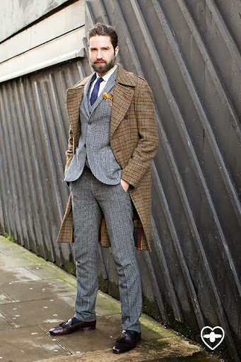 Jack Guinness; Model; D S Dundee overcoat; Topman suit; Topman shirt; Aquascutum tie; Silken Favours pocket sq; Paul Smith socks;Leeman Paris shoes;