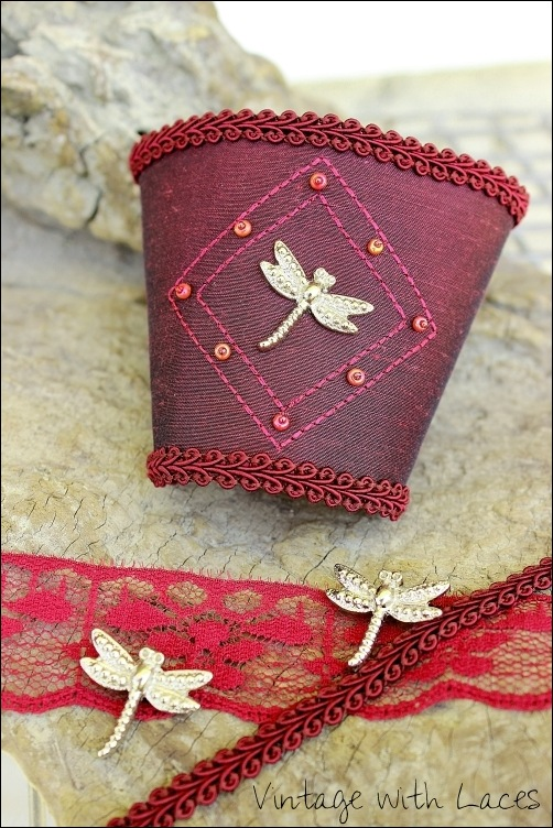 Burdundy Red Dragonfly Cuff by Vintage with Laces