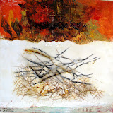 'Falling Into Winter II' 10x10 Mixed media, beeswax, oil on canvas. The Avenue Gallery, Victoria BC SOLD
