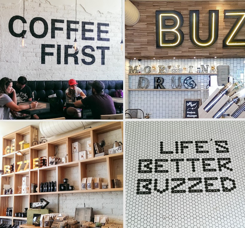 photo collage of the inside of Better Buzz Coffee