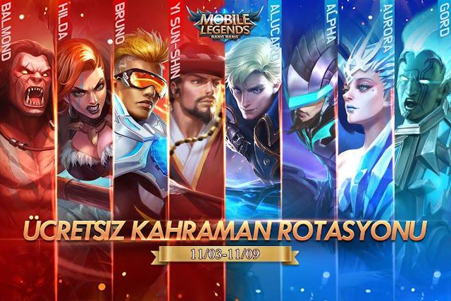 Mobile Legends 3 Kasım 9 Kasım Ücretsiz Kahraman Rotasyonu