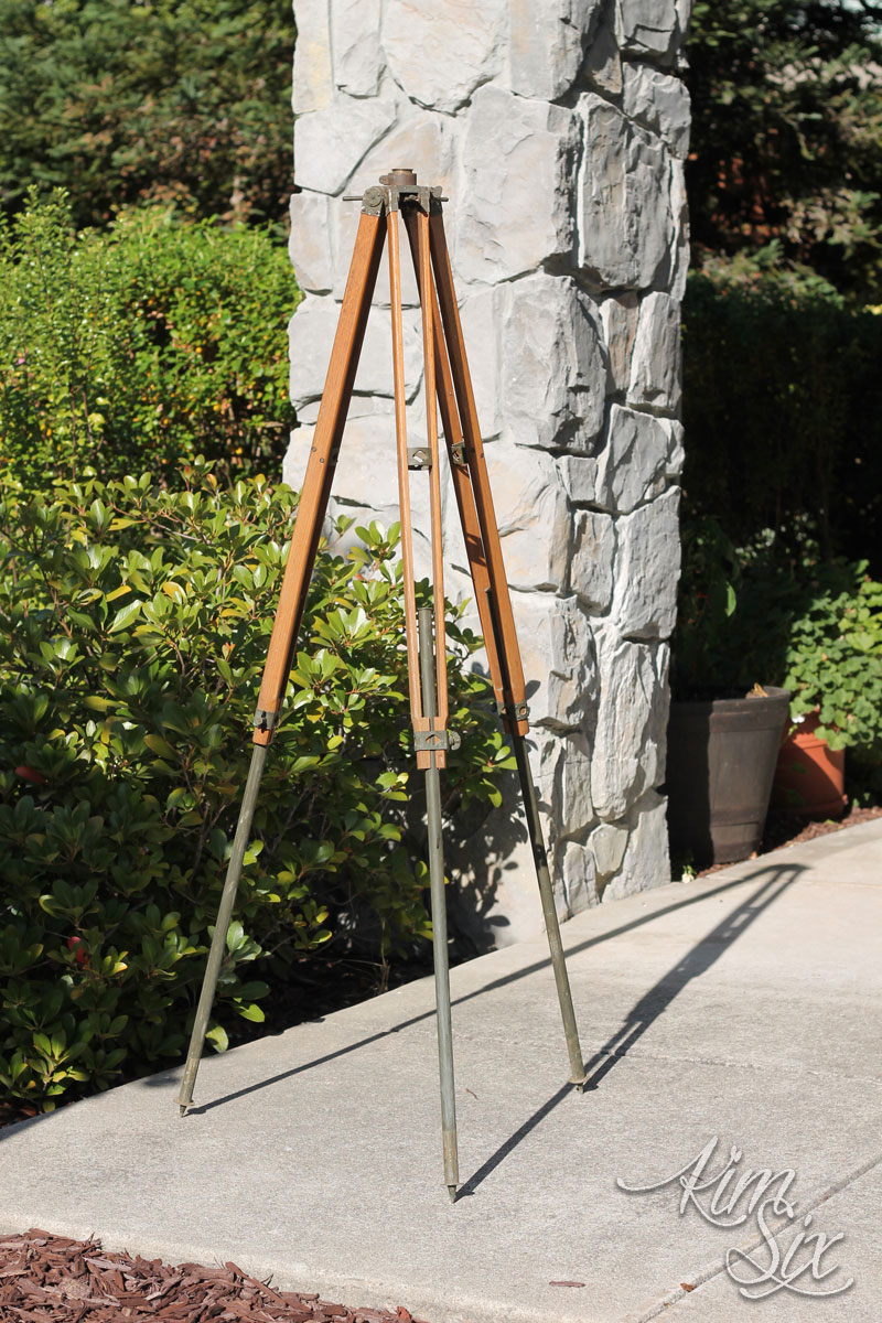 Repurposed wooden tripod