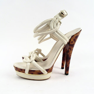 Gucci Mystic White Patent Leather Open Toe Platform Stilletto