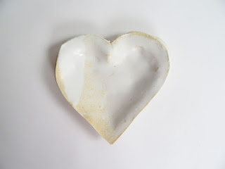 Jan Burtz White Porcelain Heart dish