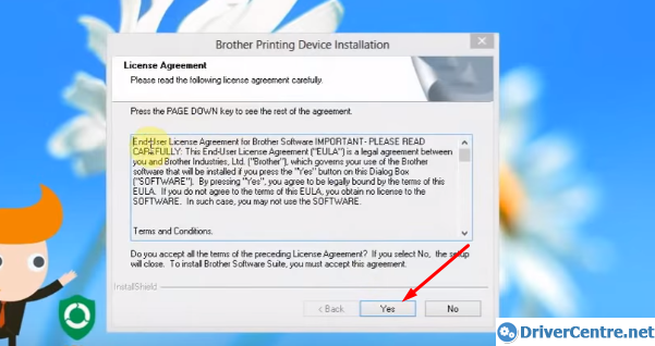 accept Brother DCP-7030 printer driver installation Licence Agreement
