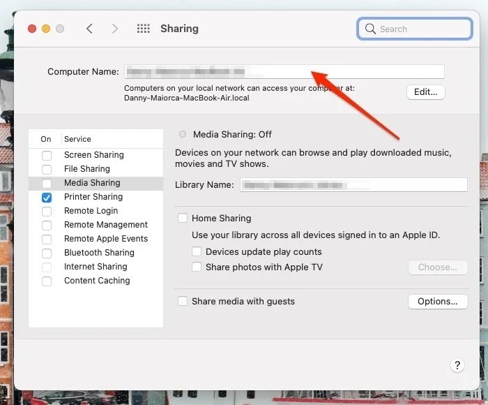 لقطة شاشة لنظام التشغيل Mac توضح مكان تغيير اسم المستخدم