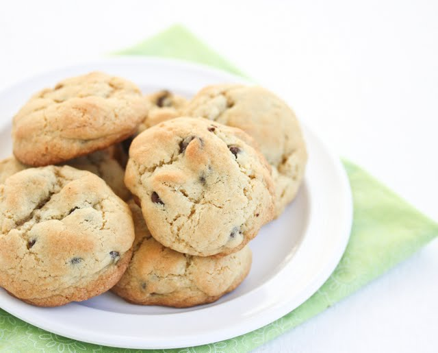 photo of a plate of Soft Cornstarch Chocolate Chip Cookies