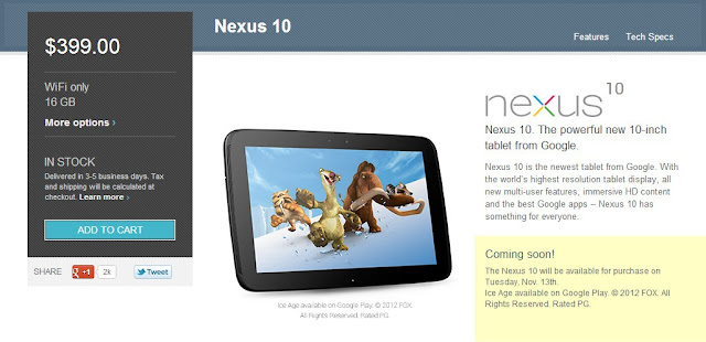 Nexus10の販売ページ:Google Play米国