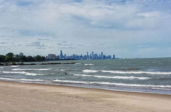 Chicago Skyline seen from Rainbow Park, IL