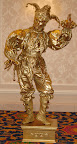 Gold Jester statue Also avail on stilts