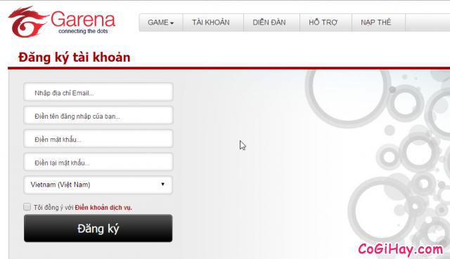 Vào trang đăng ký tài khoản Fifa online 3