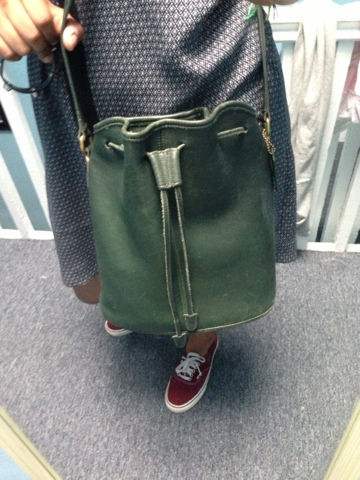 423e7907f7e It s a hunter green vintage authentic Coach bucket bag (from the  80s or   90s) and I love it so much! So that s my look for today. What did you guys  wear