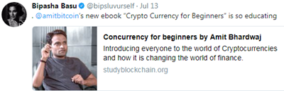 Bipasha Basu  promoting bitcoin and cryptocurrency