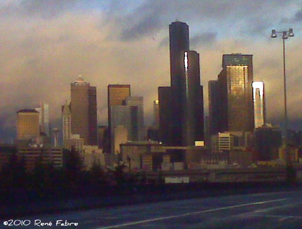 The Smith Tower and Seattle skyline from Interstate 5 just south of downtown.