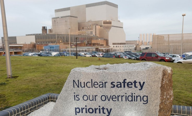 The controversial Hinkley Point C nuclear plant will be built next to Hinkley Point B (pictured) and Hinkley Point A in Bridgwater Somerset. A sign at the entrance reads, 'Nuclear safety is our overriding priority'. Photo: Reuters