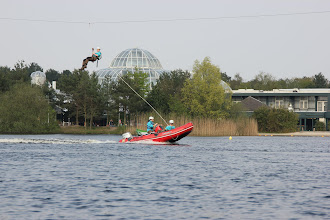 Photo: May 2013: Electric boat at vacation park Centerparcs Meerdal in America (NL)
