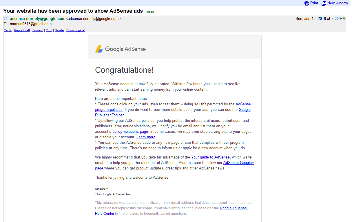 Goodle Adsense ads not show my new domain wordpress site