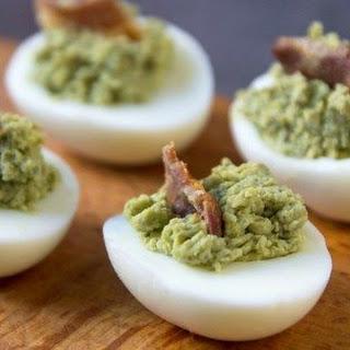 Avocado Deviled Eggs with Bacon.
