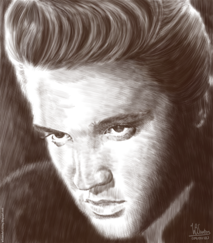 Drawing of Elvis Presley, using Krita 2.5.