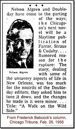 Newsclip about Nelson Algren, 1956