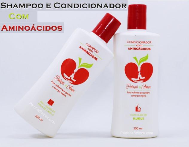 shampoo e condicionador com aminoáidos pedaços de amor