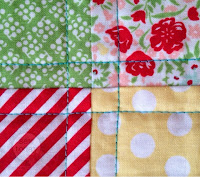 Close up of the intersecting quilting lines