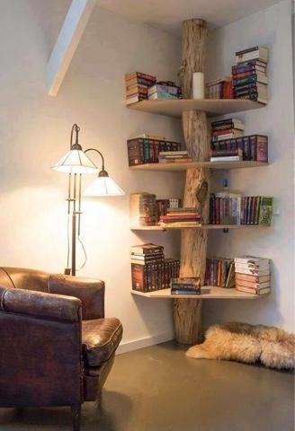 Bücherregal kreativ  a:VZ: Bücherregal - kreative Naturholz, Baumstamm Idee