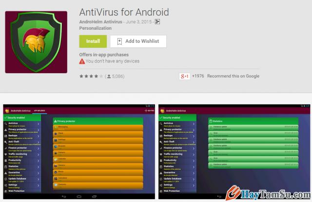 Ứng dụng diệt chống virut điện thoại Anti-Virus Android