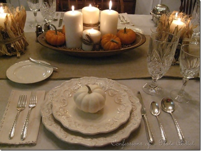 CONFESSIONS OF A PLATE ADDICT Thanksgiving Tablescape in Creams with Natural Elements