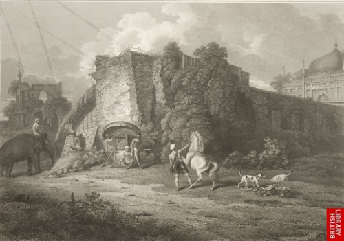 North gateway of Boro Kutra by D'Oyly in 1816