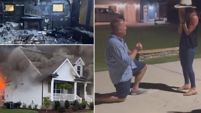 Homem resgata anel de casamento em meio ao incêndio e pede namorada em noivado