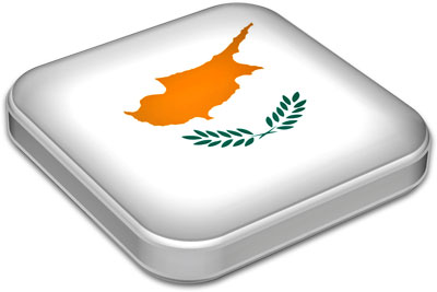 Flag of Cyprus with metallic square frame
