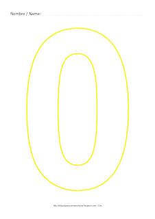 Lámina para colorear y pintar el número cero en color amarillo