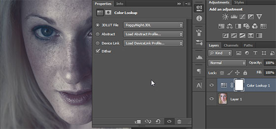Camada de ajuste Color Lookup do Photoshop