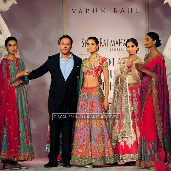 Kanishtha on the ramp with Varun Bahl on Day 3 of India Couture Week, 2014, held at Taj Palace hotel, New Delhi.