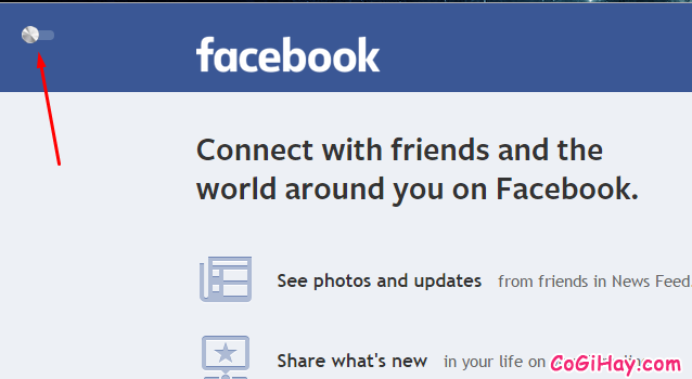 Nút bật tắt giao diện Facebook mới