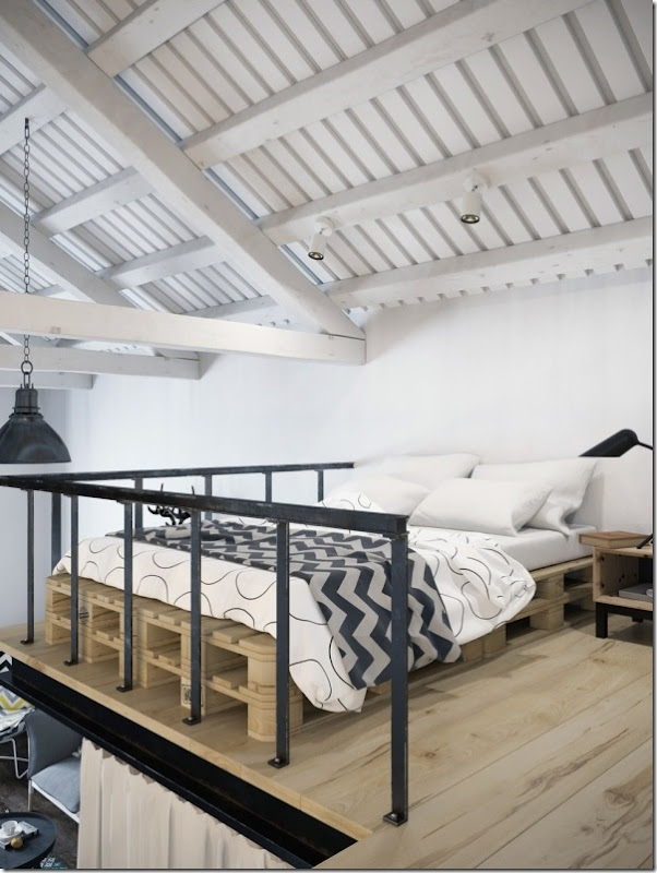 case e inetrni - mini loft praga - stile scandinavo (11)