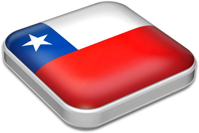 Flag of Chile with metallic square frame
