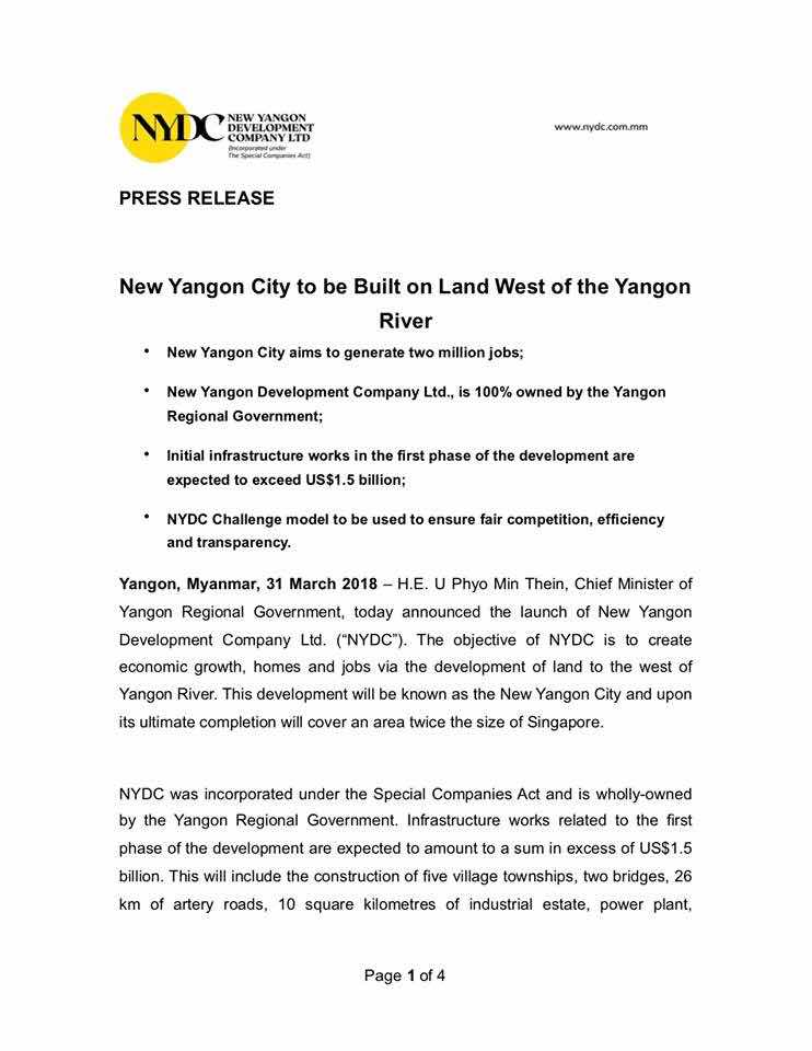 Did You Know?: New Yangon City to be Built on Land West of