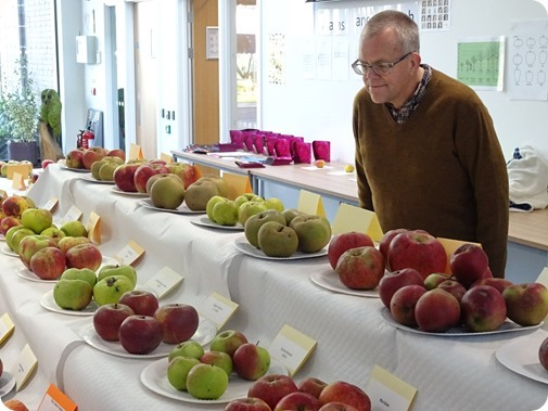 Visitor Mark Ray peruses the apples