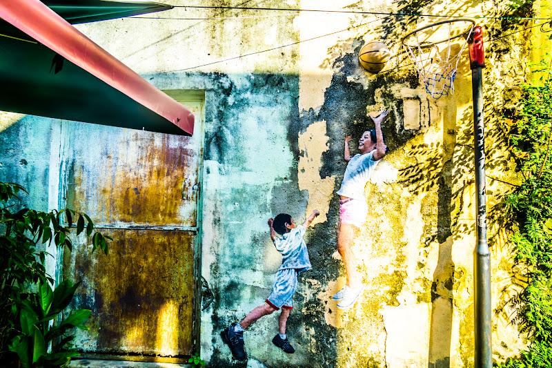 ペナン ジョージタウン ストリートアート Children Playing Basketball1