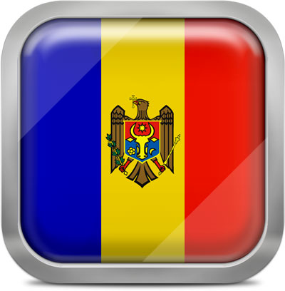 Moldova square flag with metallic frame